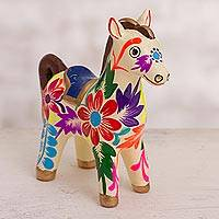 Ceramic figurine, 'Floral Horse in White' - Floral Ceramic Horse Figurine in White from Peru