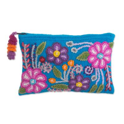 Embroidered Floral Alpaca Clutch in Turquoise from Peru