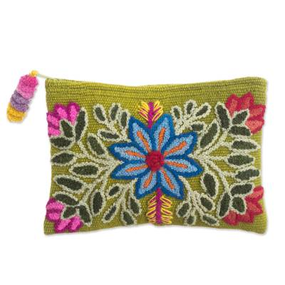 Embroidered Floral Alpaca Clutch in Warm Olive from Peru