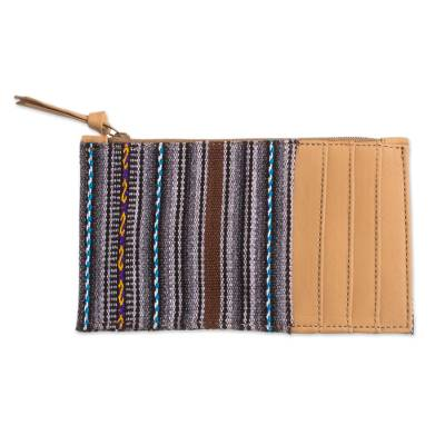 Handcrafted Leather Accented Wool Blend Wallet from Peru