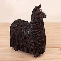 Wood sculpture, 'Wooly Suri' - Hand-Carved Cedar Wood Alpaca Sculpture from Peru