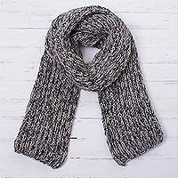 100% alpaca scarf, 'Winter Heather' - Knit Heathered 100% Alpaca Wrap Scarf from Peru