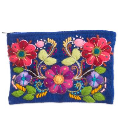 Floral Embroidered Alpaca Blend Clutch in Royal Blue