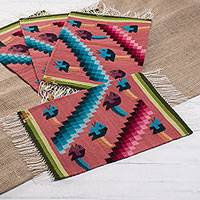 Wool placemats, 'Urubamba River in Strawberry' (set of 4) - Fish-Themed Wool Placemats in Strawberry (Set of 4)
