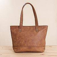 Leather tote, 'Sepia Waves' - Handcrafted Leather Tote in Sepia from Peru