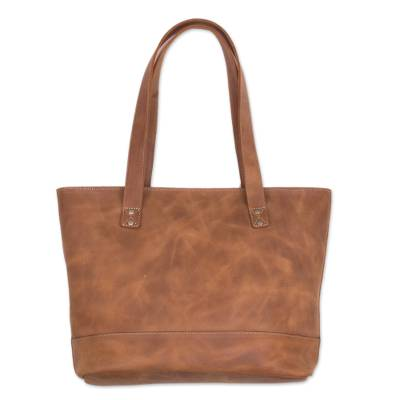 Handcrafted Leather Tote in Sepia from Peru
