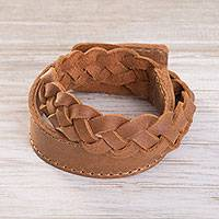 Leather braided wristband bracelet, 'Elegant Lasso in Sepia' - Leather Braided Wristband Bracelet in Sepia from Peru