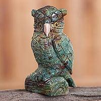 Chrysocolla and rose quartz gemstone sculpture, 'Fascinating Owl' - Chrysocolla and Rose Quartz Gemstone Owl Sculpture from Peru