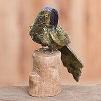 Gemstone sculpture, 'Curious Parrot' - Gemstone Parrot Sculpture Crafted in Peru