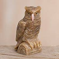 Calcite and rose quartz gemstone sculpture, 'Protective Owl' - Calcite and Rose Quartz Gemstone Owl Sculpture from Peru