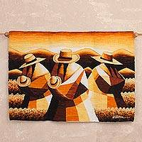 Wool tapestry, 'Sunset in the Andean Country' - Handwoven Wool Tapestry of Andean Workers from Peru
