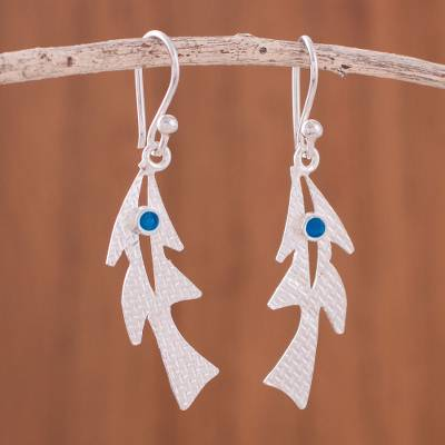 Sterling silver dangle earrings, 'Chancay Fish' - Modern Sterling Silver Dangle Earrings from Peru