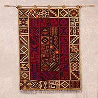 Wool tapestry, 'Inca History' - Handwoven Geometric Wool Tapestry from Peru