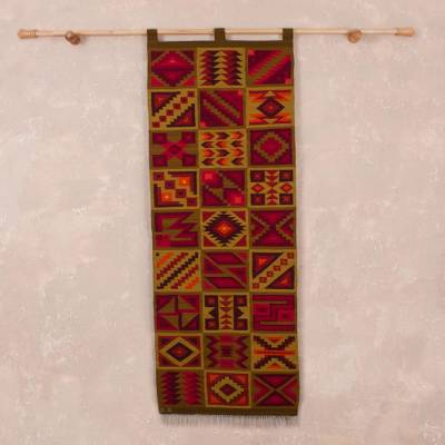 Wool tapestry, 'Inca Calendar' - Geometric Wool Tapestry Handwoven in Peru