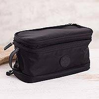 Leather accented cotton blend travel bag, 'Stylish Traveler' - Leather Accent Cotton Blend Travel Bag in Black from Peru