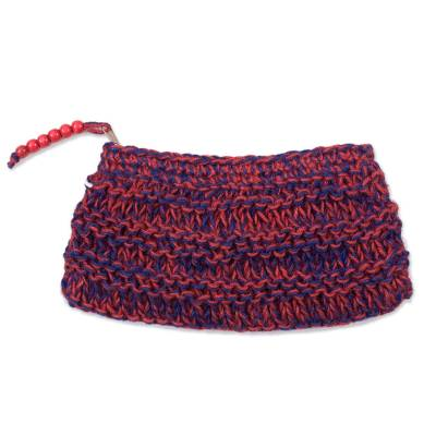 Crocheted Jute Clutch in Crimson and Blue-Violet from Peru