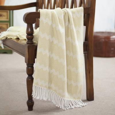 Alpaca blend throw, 'Wheat Field' - Zigzag Motif Alpaca Blend Throw in Wheat from Peru