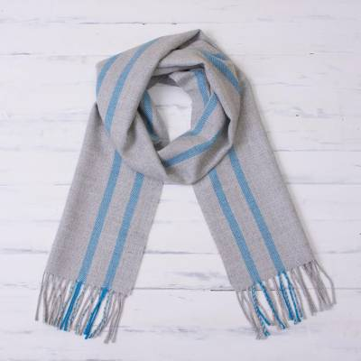 100% baby alpaca scarf, 'Smoky Turquoise' - 100% Baby Alpaca Scarf in Smoke and Turquoise from Peru