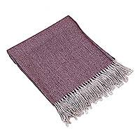 100% baby alpaca throw, 'Magenta Mystery' - 100% Baby Alpaca Throw in Magenta and Dusty Lilac from Peru