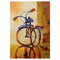 'Freedom on Wheels' - Signed Painting of a Bicycle from Peru