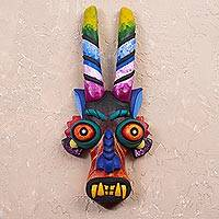 Ceramic mask, 'Age-Old Devil' - Colorful Ceramic Devil Mask from Peru