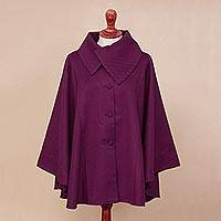 Alpaca blend cape, 'Encompass in Magenta' - Alpaca Blend Cape in Magenta from Peru