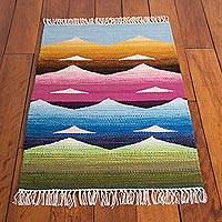 Wool area rug, 'Andean Colors' (2x3) - Mountain Motif Wool Area Rug from Peru (2x3)