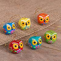 Ceramic ornaments, 'Vigilant Owls' (set of 6) - Hand-Painted Ceramic Owl Ornaments from Peru (Set of 6)