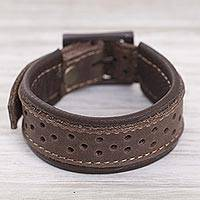 Leather wristband bracelet, 'Wanderer Style in Mahogany' - Leather Wristband Bracelet in Mahogany from Peru