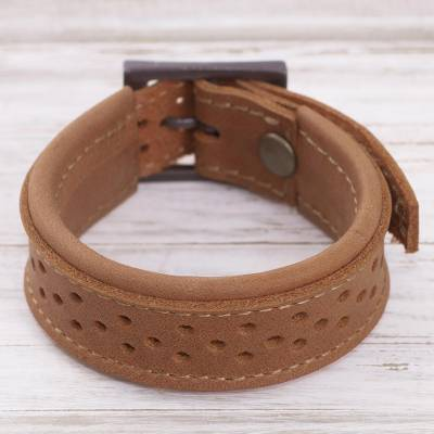 Leather wristband bracelet, 'Wanderer Style in Sepia' - Leather Wristband Bracelet in Sepia from Peru