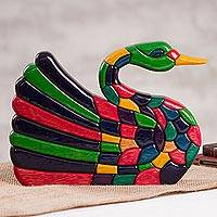 Wood sculpture, 'Colorful Swan' - Colorful Wood Swan Sculpture Handcrafted in Peru