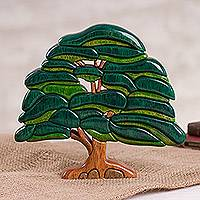 Wood sculpture, 'Old Oak Tree' - Wood Oak Tree Sculpture Crafted in Peru
