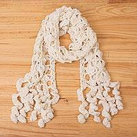 Alpaca blend scarf, 'Andean Spiral in Eggshell' - Hand-Crocheted Alpaca Blend Wrap Scarf in Eggshell