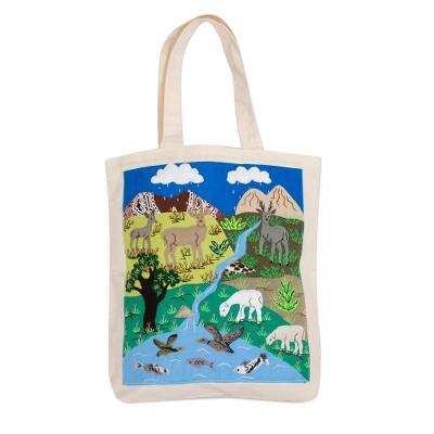 Animal-Themed Cotton Blend Applique Tote from Peru