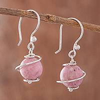Rhodonite dangle earrings, 'Planetary Spirals' - Spiral Motif Rhodonite Dangle Earrings from Peru
