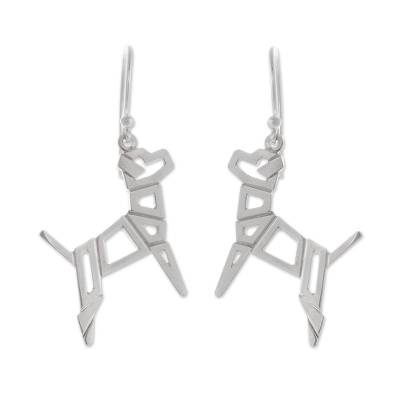 Geometric Sterling Silver Dog Earrings from Peru