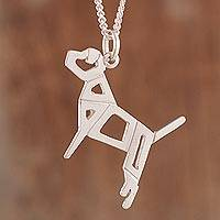 Sterling silver pendant necklace, 'Playful Dog' - Openwork High Polish Sterling Silver Dog Pendant Necklace