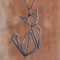 Sterling silver pendant necklace, 'Angular Cat in Black' - Openwork Oxidized Sterling Silver Cat Pendant Necklace