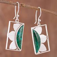 Chrysocolla dangle earrings, 'Floral Rectangles' - Floral Chrysocolla Dangle Earrings from Peru