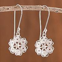Sterling silver filigree dangle earrings, 'Glistening Bloom' - Floral Sterling Silver Filigree Dangle Earrings from Peru