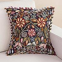 Wool cushion cover, 'Heart of Flowers' - Earth-Tone Floral Wool Cushion Cover from Peru