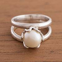 Cultured pearl cocktail ring, 'Fascinating Glow' - Cultured Pearl Cocktail Ring from Peru