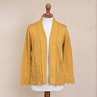 Pima cotton cardigan, 'Autumn Cascade in Amber' - Knit Pima Cotton Cardigan in Amber from Peru