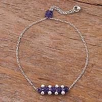 Sterling silver pendant bracelet, 'Gleaming Beads in Iris' - Sterling Silver Pendant Bracelet in Iris from Peru