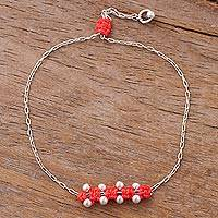 Sterling silver pendant bracelet, 'Gleaming Beads in Flamingo' - Sterling Silver Pendant Bracelet in Flamingo from Peru