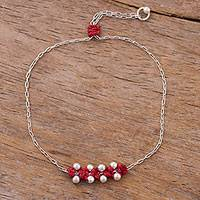 Sterling silver pendant bracelet, 'Gleaming Beads in Crimson' - Sterling Silver Pendant Bracelet in Crimson from Peru