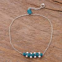 Sterling silver pendant bracelet, 'Gleaming Beads in Peacock' - Sterling Silver Pendant Bracelet in Teal from Peru