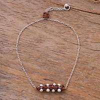 Sterling silver pendant bracelet, 'Gleaming Beads in Chestnut' - Sterling Silver Pendant Bracelet in Chestnut from Peru