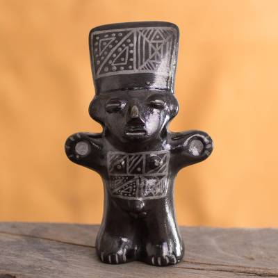 Ceramic figurine, 'Black Cuchimilco Man' - Ceramic Cuchimilco Man Figurine in Black from Peru