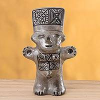 Ceramic figurine, 'Silver Cuchimilco Man' - Ceramic Cuchimilco Man Figurine in Silver from Peru